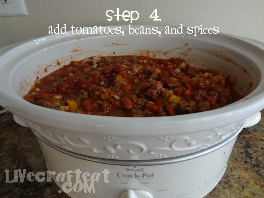 fourth step to making chili