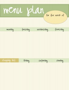 free menu planner printable - green