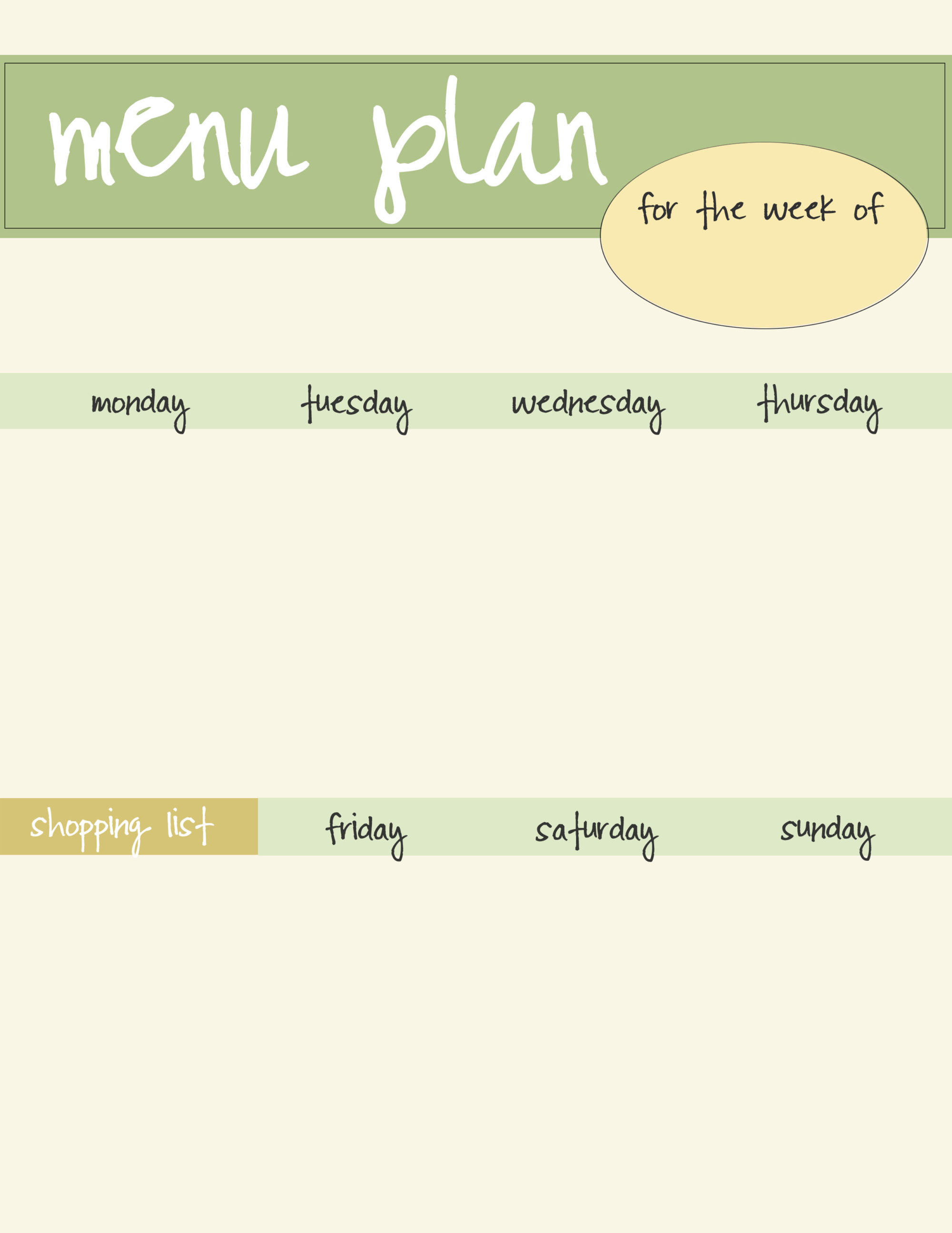 Free Menu Planner Printable   Green  Free Menu Planner Template