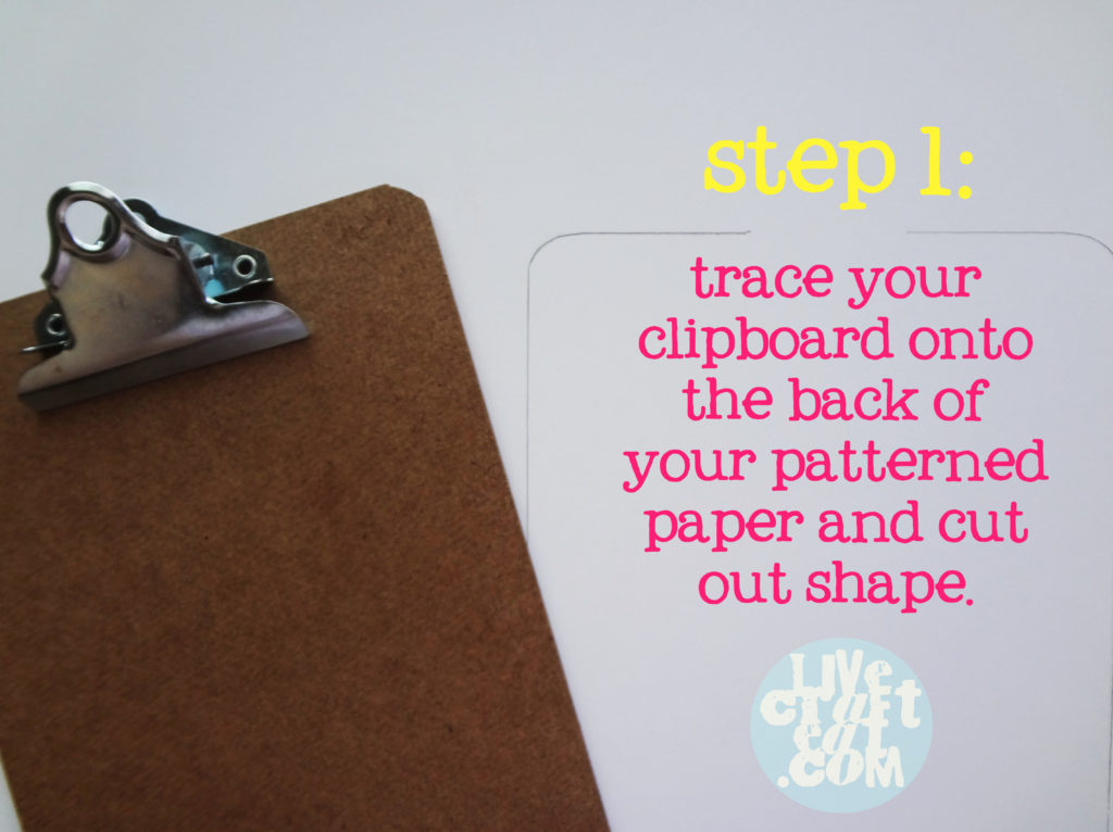 tracing clipboard onto patterned paper