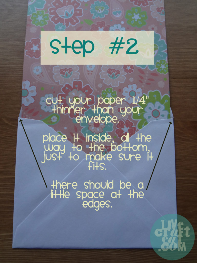 how to make a lined envelope - step 2