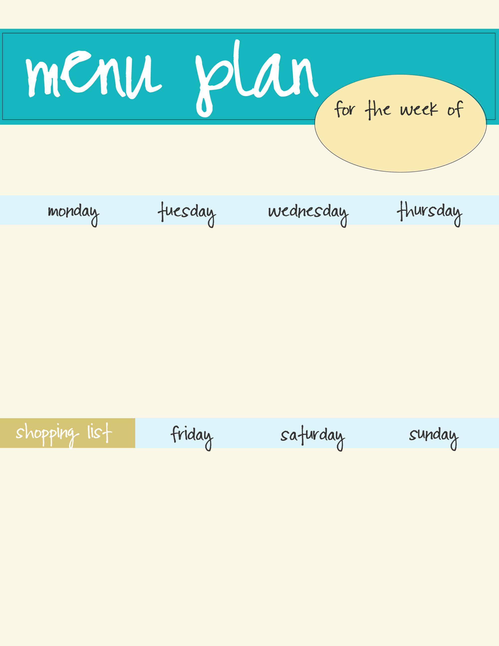 Free Blue Menu Plan Printable