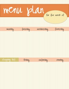orange menu plan printable