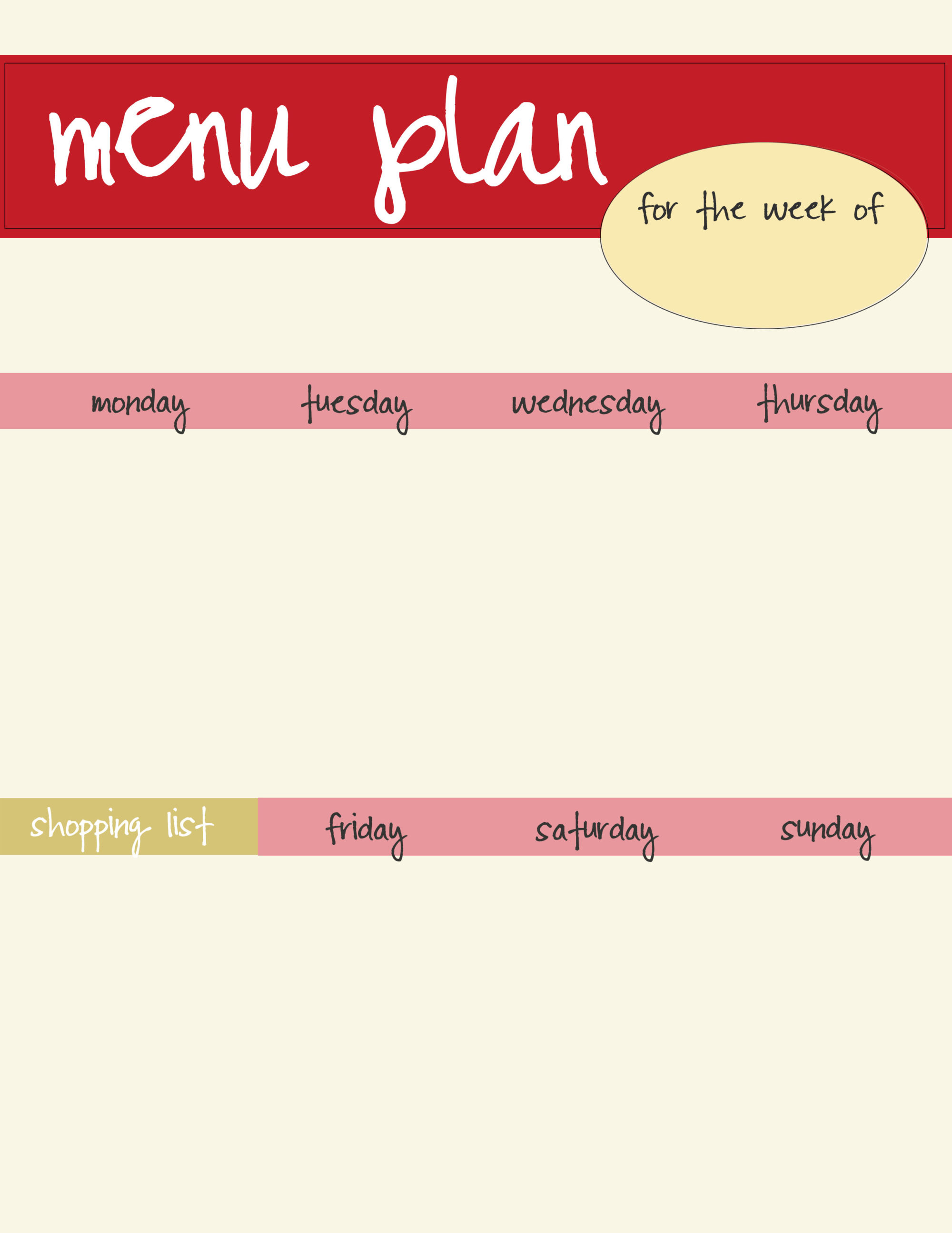 Free Red Menu Planner Printable