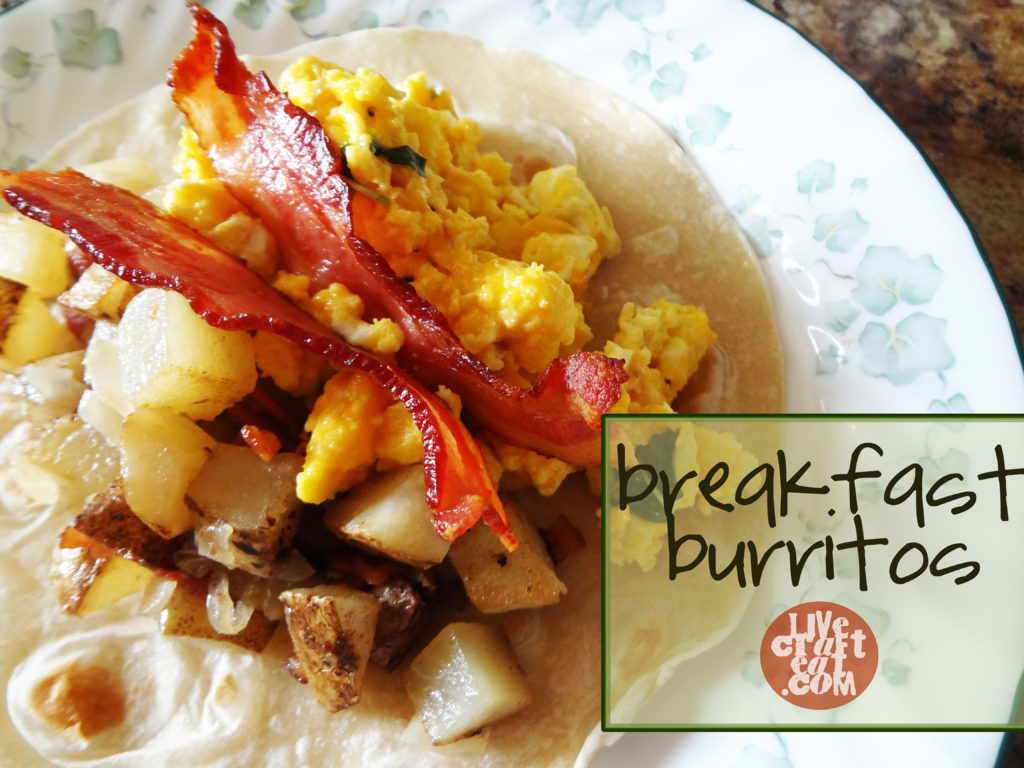 bacon, hash browns, scrambled eggs burritos