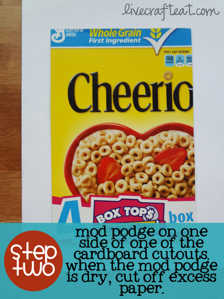 step 2 for making a cereal box journal