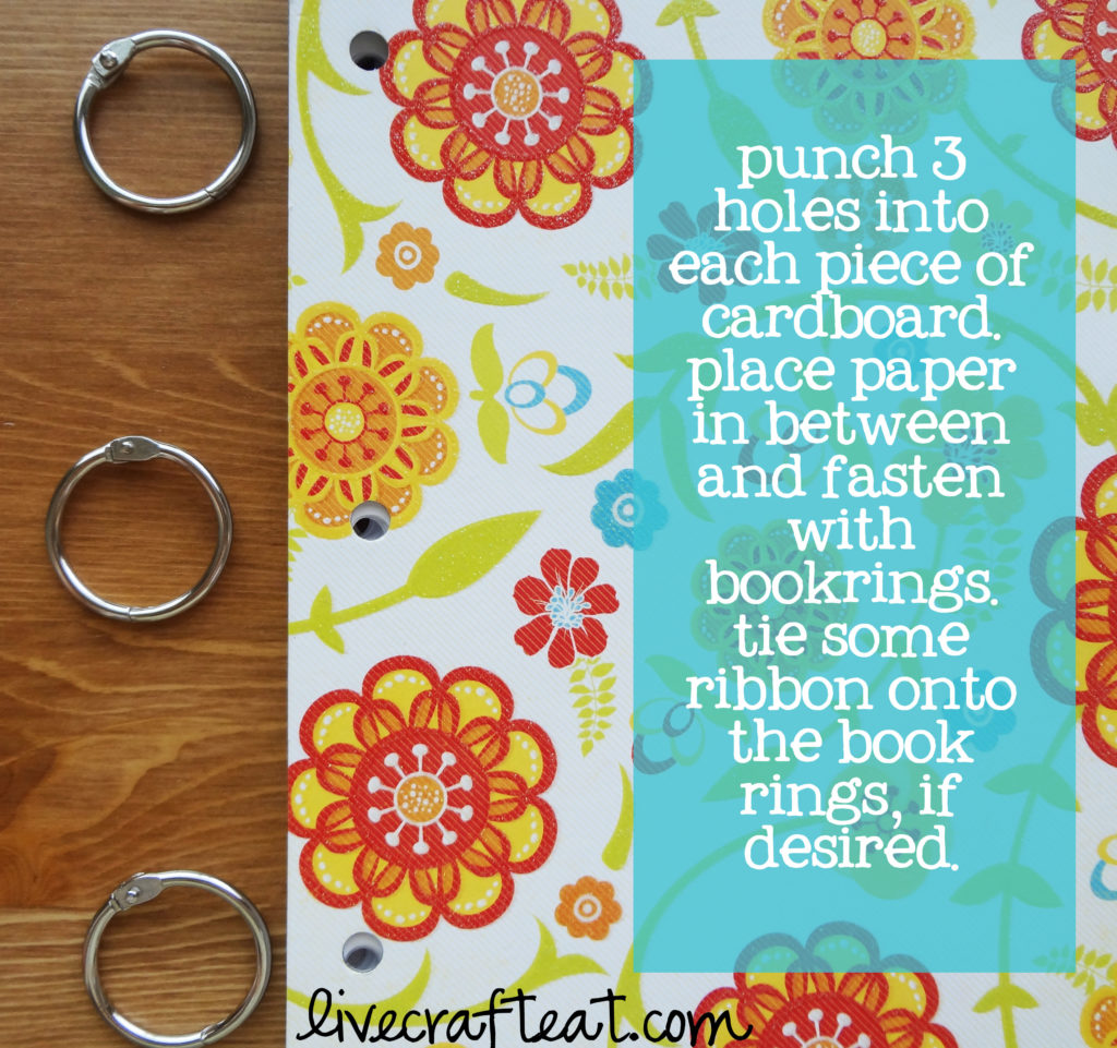 punch holes and add rings to notebook