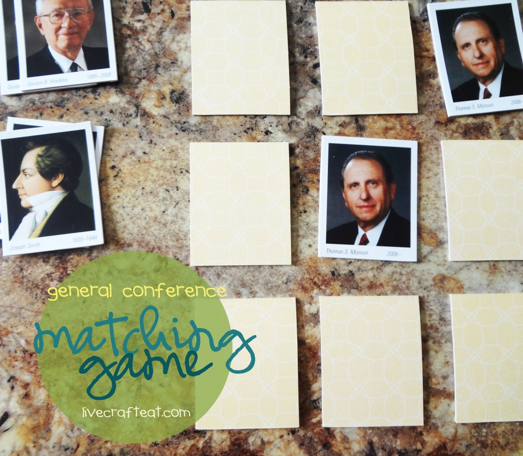 general conference and family home evening latter-day prophet matching game.