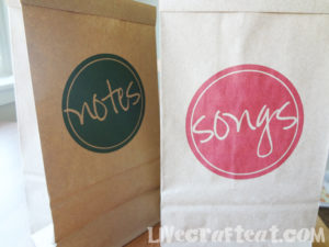 name that tune activity brown paper lunch bags