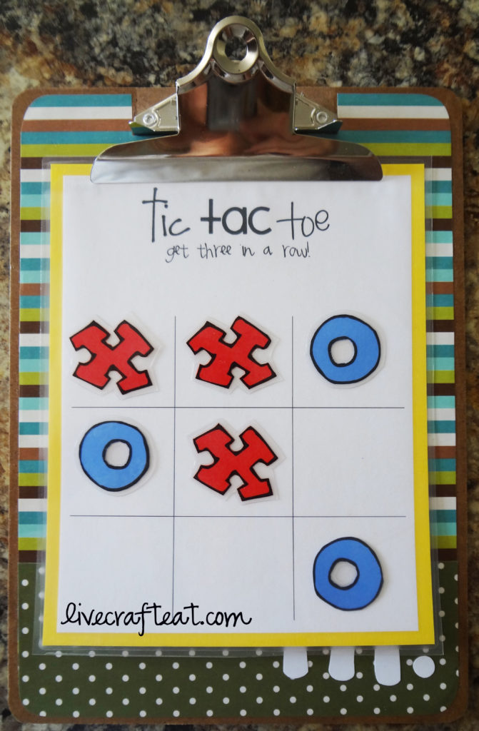 tic tac toe activity on clipboard