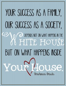 printable quote - barbara bush on families