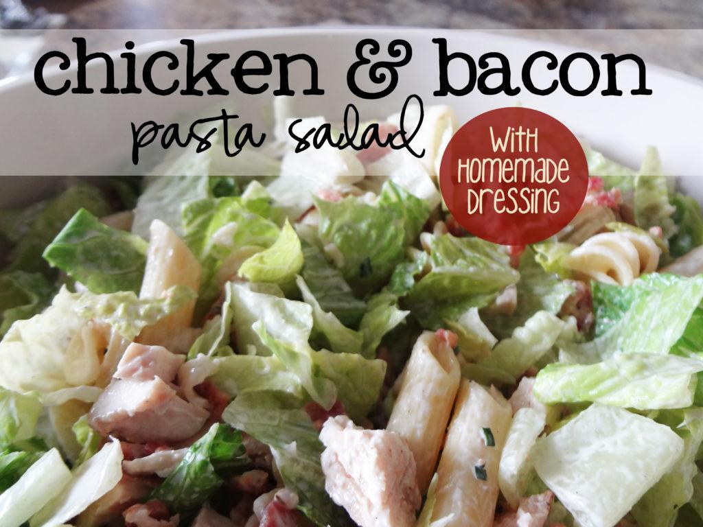 chicken, bacon, pasta, romaine salad recipe