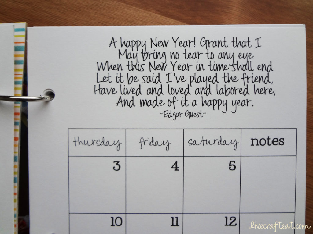 new year quote and calendar