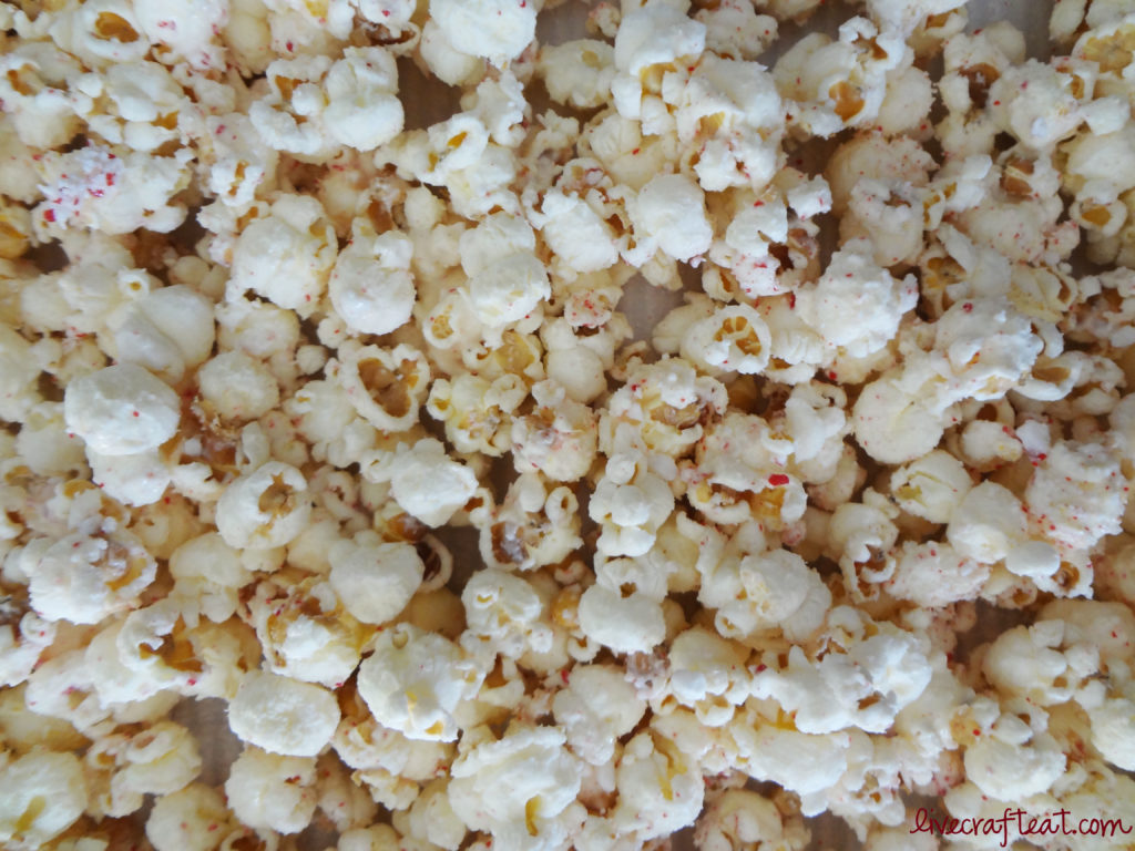 popcorn, candy canes, vanilla chocolate