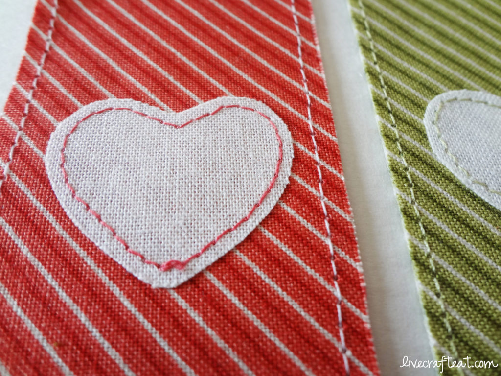 red heart striped bookmark