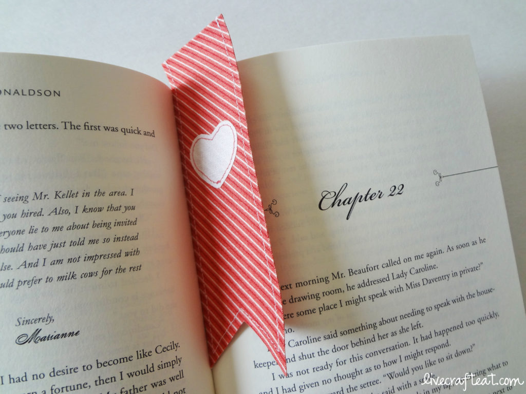 red heart bookmark & book