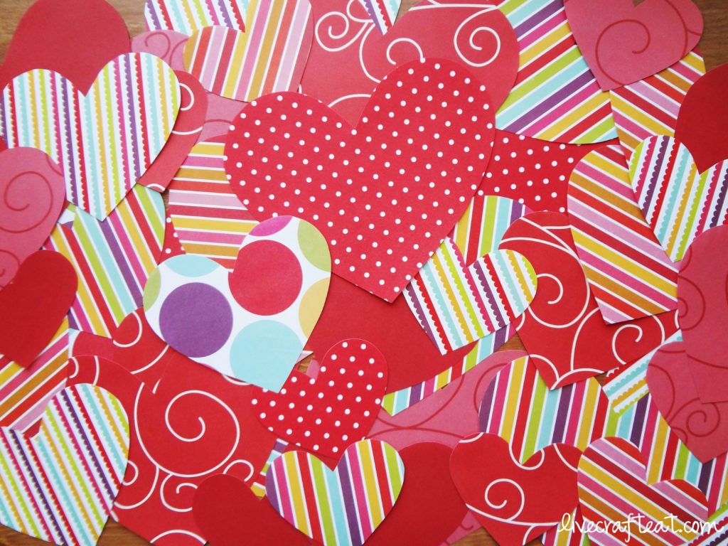 patterned paper hearts craft