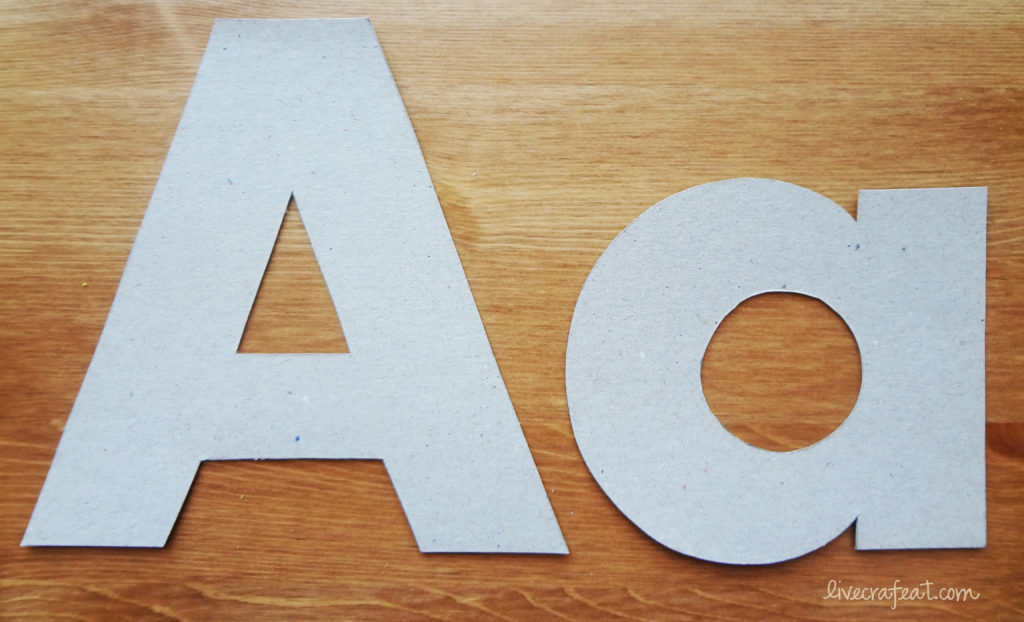 alphabet letters using cereal boxes or chip board
