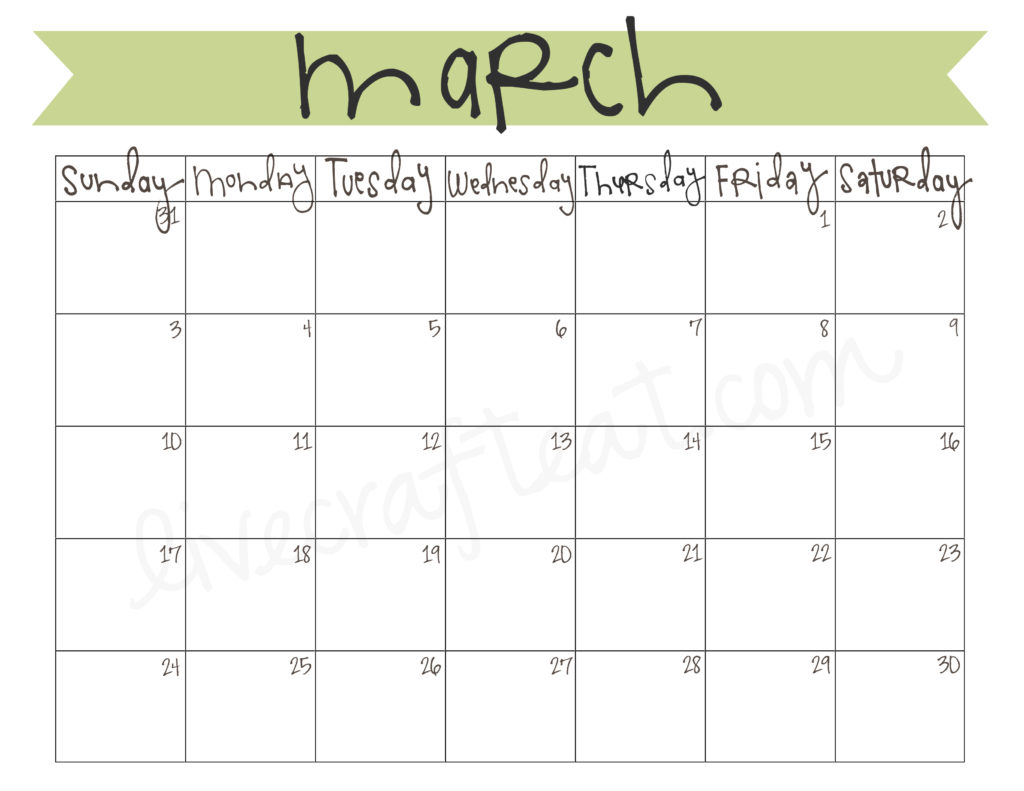March 2013 Calendar Free Printable Live Craft Eat