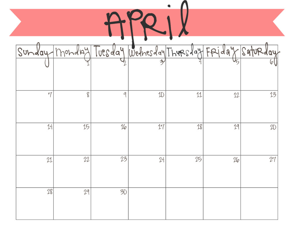 Calendar Kids April : April calendar printable live craft eat