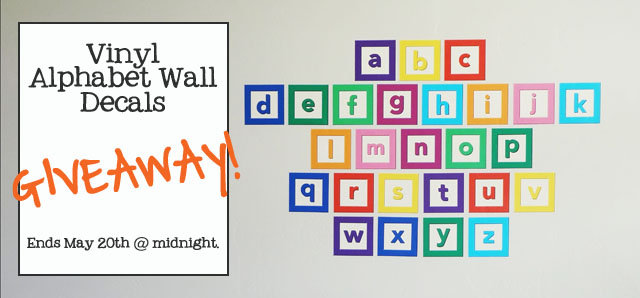 vinyl alphabet wall decal giveaway
