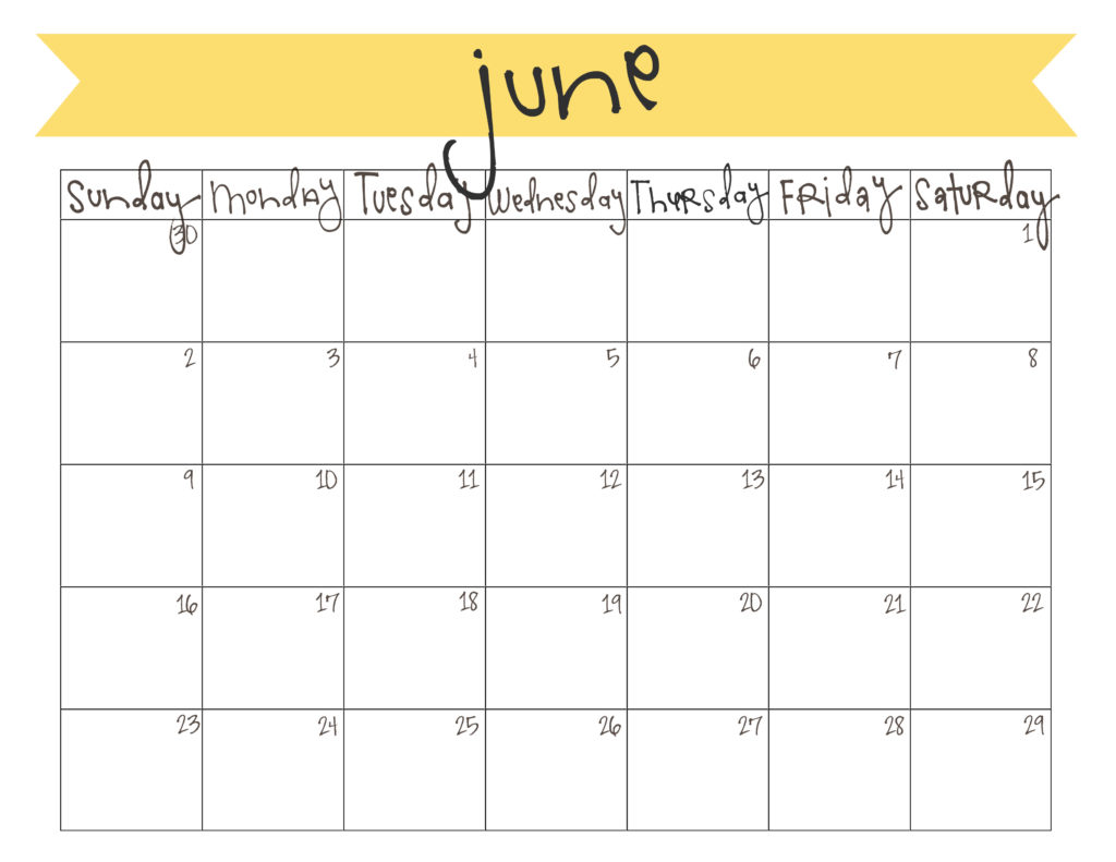 Calendar June To October : Printable june calendar free live craft eat