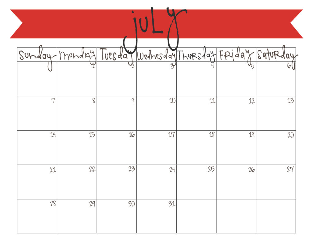 picture regarding Free Printable July Calendar named July 2013 Calendar - Free of charge Printable Are living Craft Consume