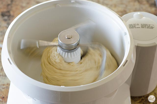 cinnamon roll dough in a stand mixer