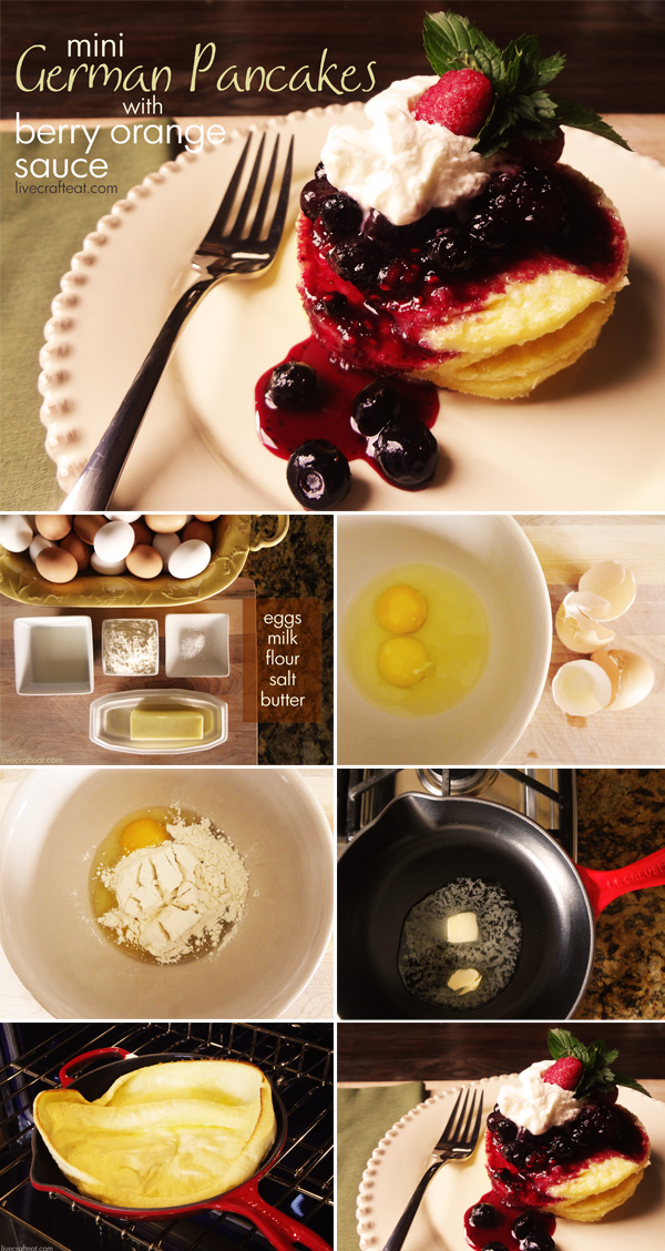 German Pancakes - individual serving recipe with berry & fig sauces.