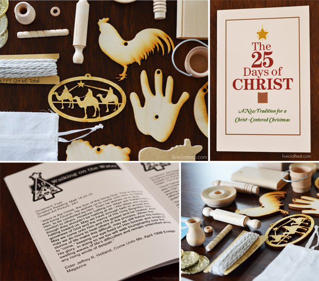 an advent calendar kit that includes an ornament representing a story in Christ's life - 1 for each of the 25 days.