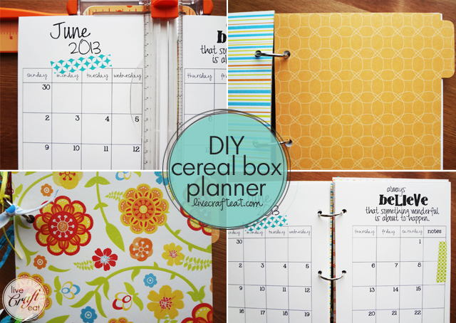 diy cereal box planner - made with a cereal box & scrapbook paper! new 2014 monthly calendars available.