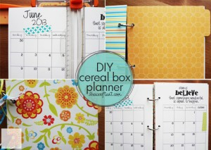 planner/notebook made from a cereal box
