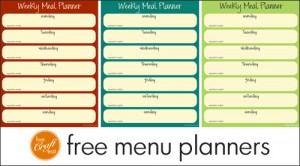 free printable meal/menu planners