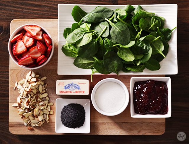 ingredients for an easy strawberry spinach salad with strawberry poppy seed dressing