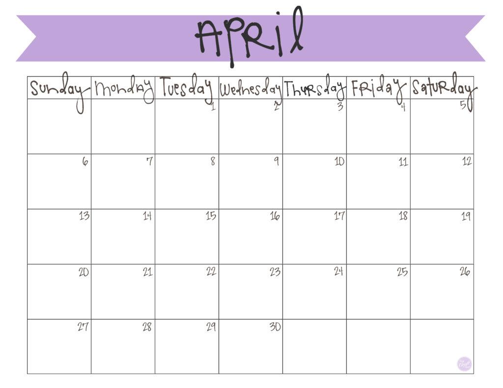 free printable april 2014 calendar