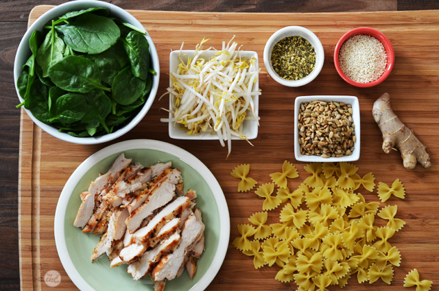 ingredients for an incredible asian-inspired chicken & pasta salad