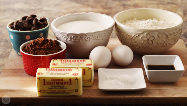 simple ingredients for amazing double chocolate cookies!