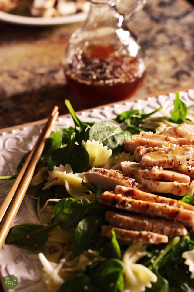 asian chicken salad with sesame dressing. i LOVE this salad! i could eat it every day.