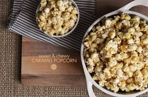 one of my favorite ways to eat popcorn...covered in homemade caramel! quick and easy, and only 5 ingredients (including the popcorn itself).