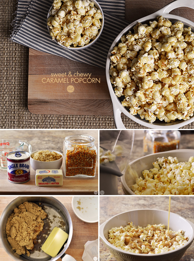 sweet, chewy, and gooey homemade caramel popcorn recipe. it only uses a few staple pantry items and about 10 minutes to make! i love this recipe.