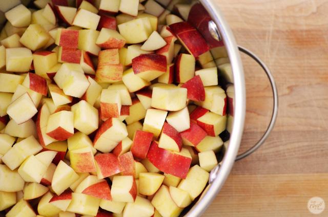 making homemade applesauce!