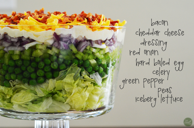 how to make an easy peasy 7-layer salad...so pretty and so, so, yummy!!