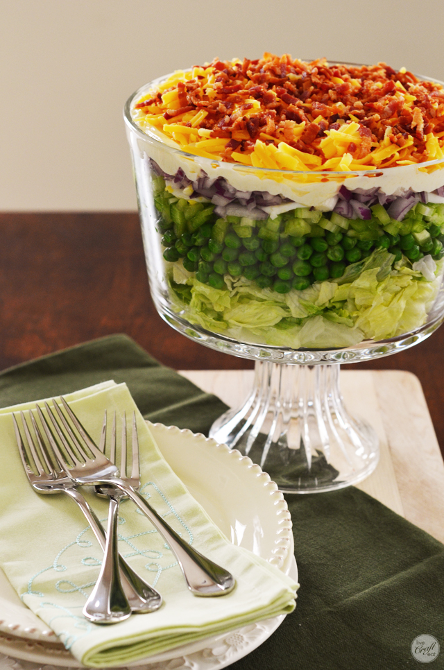 easy peasy 7-layer salad. looks so pretty you almost don't want to eat it! almost...it's actually AMAZING!!!