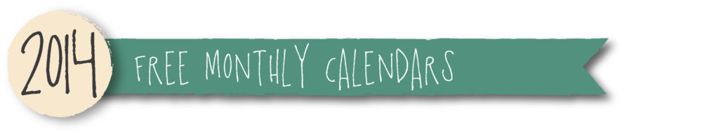 2014 free monthly calendars