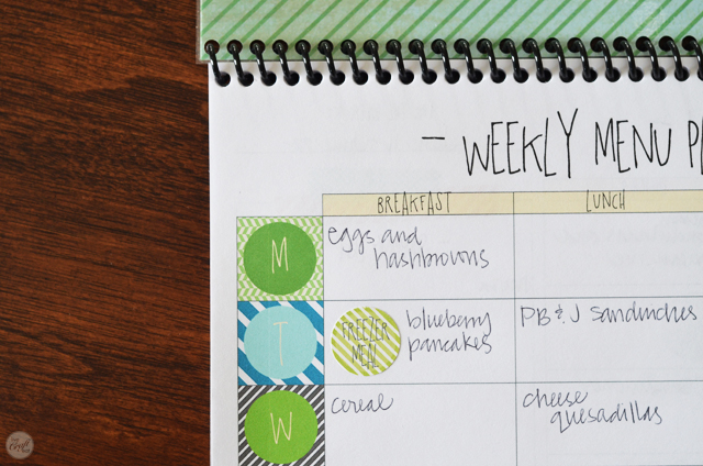 easy DIY weekly meal planner