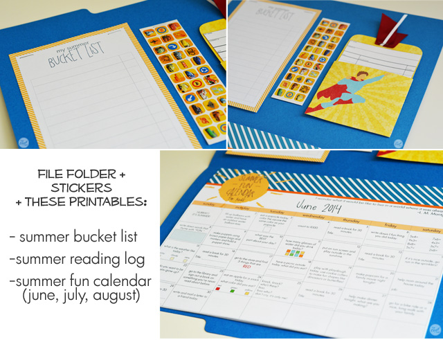 free printables for a super cute summer fun folder for kids :: summer calendars with activities, summer bucket list, and summer reading log with stickers.