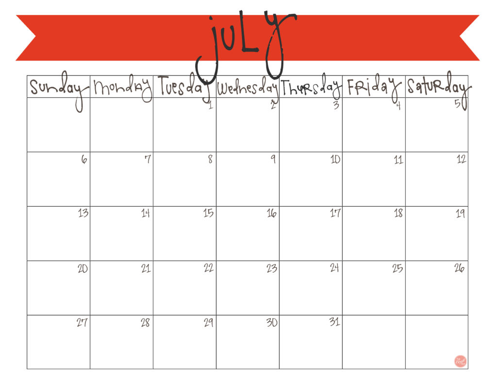 freebie!! july 2014 free printable calendar.