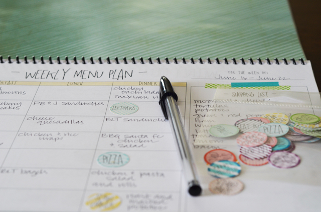 DIY menu planner for breakfast/lunch/dinner with printable stickers