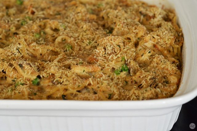 chicken tetrazzini hot out of the oven.