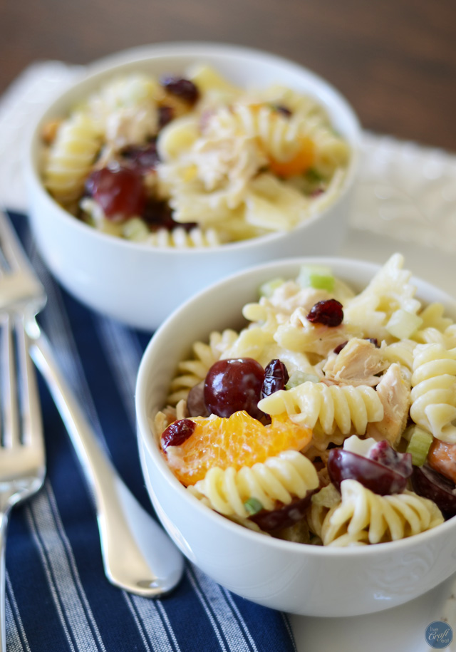 crunchy, fruity, salty, and savory chicken pasta salad. a kid favorite!!